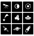 black space icon set vector image vector image