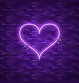 bright heart retro blue neon heart sign vector image vector image