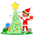business santa with money christmas tree vector image vector image
