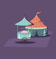 carnival circus tent and food booth retro vector image vector image
