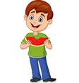 cartoon boy eating watermelon slice vector image