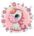 cartoon unicorn on a flowers background vector image vector image