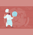 chef cook holding tray with dish smiling cartoon vector image