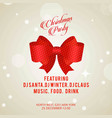 christmas invitation card with bow vector image vector image