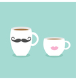 Coffee cup mug moustaches and lips Blue background vector image vector image