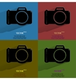 Color set Photo camera Flat modern web button with vector image