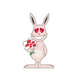 cute pink bunny in love vector image vector image
