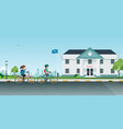 cycling to school vector image