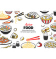 doodle asian food background chinese cuisine vector image