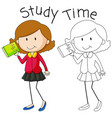 doodle girl character study vector image vector image