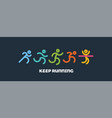 dynamic running people set sport and healthy vector image vector image