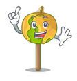 finger candy apple mascot cartoon vector image