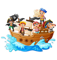 group of pirate on the ship vector image vector image
