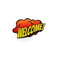 half tone welcome retro cloud dialogue message vector image