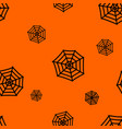 halloween orange background with spiders web vector image