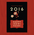 happy new year design with cute monkey vector image vector image