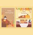 happy thanksgiving celebration posters turkey vector image vector image