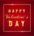 happy valentines day golden glitter sparkle on vector image vector image