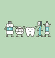 healthy tooth and funny friend - dental care vector image