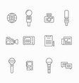 journalist line icons news interviewer vector image