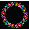 Kalocsai embroidery in circle - Hungarian floral vector image vector image