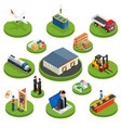 logistics isometric icons set different vector image