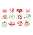 love scrapbook elements valentines day lettering vector image
