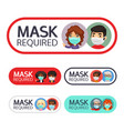 mask required signs set with people vector image