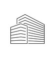 office buildings isometric outline vector image