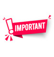 red banner important with exclamation mark vector image