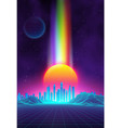 retro landscape background sunset 3d landscape vector image