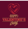 Retro Valentine day card vith line heart icon vector image vector image