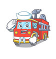 sailor fire truck character cartoon vector image vector image