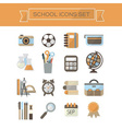 School items icon set vector image vector image
