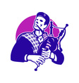 Scotsman Scottish Bagpiper Playing Bagpipes vector image