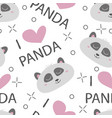 seamless pattern hand-drawn faces of pandas vector image vector image