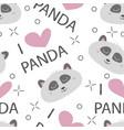 seamless pattern hand-drawn faces pandas vector image vector image