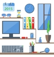 Set of office objects folder monitor watch vector image vector image