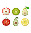 set paper cut fruits and vegetables cut shapes vector image
