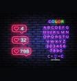 social media like neon icons like me neon vector image