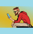 the hipster looks at smartphone vector image vector image