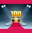 top 100 best podium award sign golden object vector image