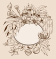 tropic spa frame with flowers and candles vector image vector image