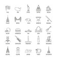 usa icons set line style vector image