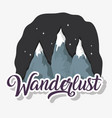 wanderlust ice mountains at night ladscape vector image