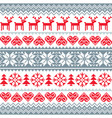 winter christmas red and grey seamless pattern vector image