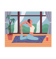 a woman practices yoga or pilates at home vector image