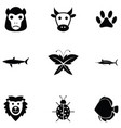 animals icon set vector image vector image
