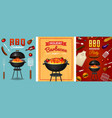 barbecue grill elements set isolated on red vector image vector image