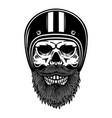 bearded skull in racer helmet design element vector image vector image